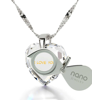"""Presents for Her Christmas, Cute Necklaces for Her, CZ White Heart, What to Get Girlfriend for Birthday By Nano Jewelry"""