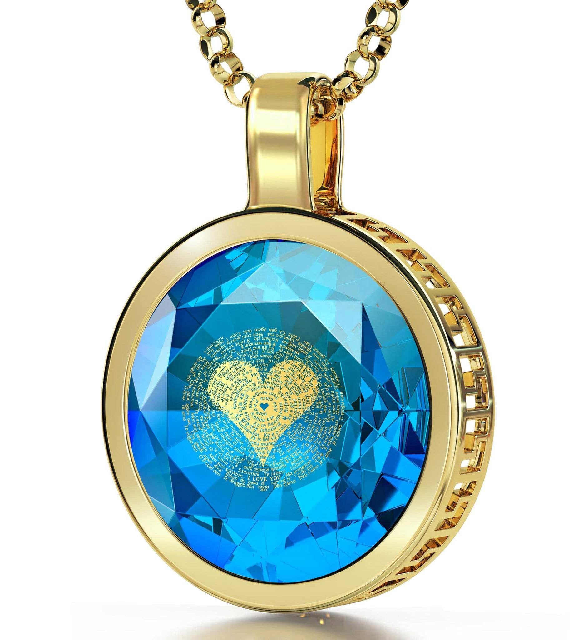 Valentines Presents for Her: Real 14k Gold Necklace, Blue Stone Jewellery, Girlfriend Christmas Presents