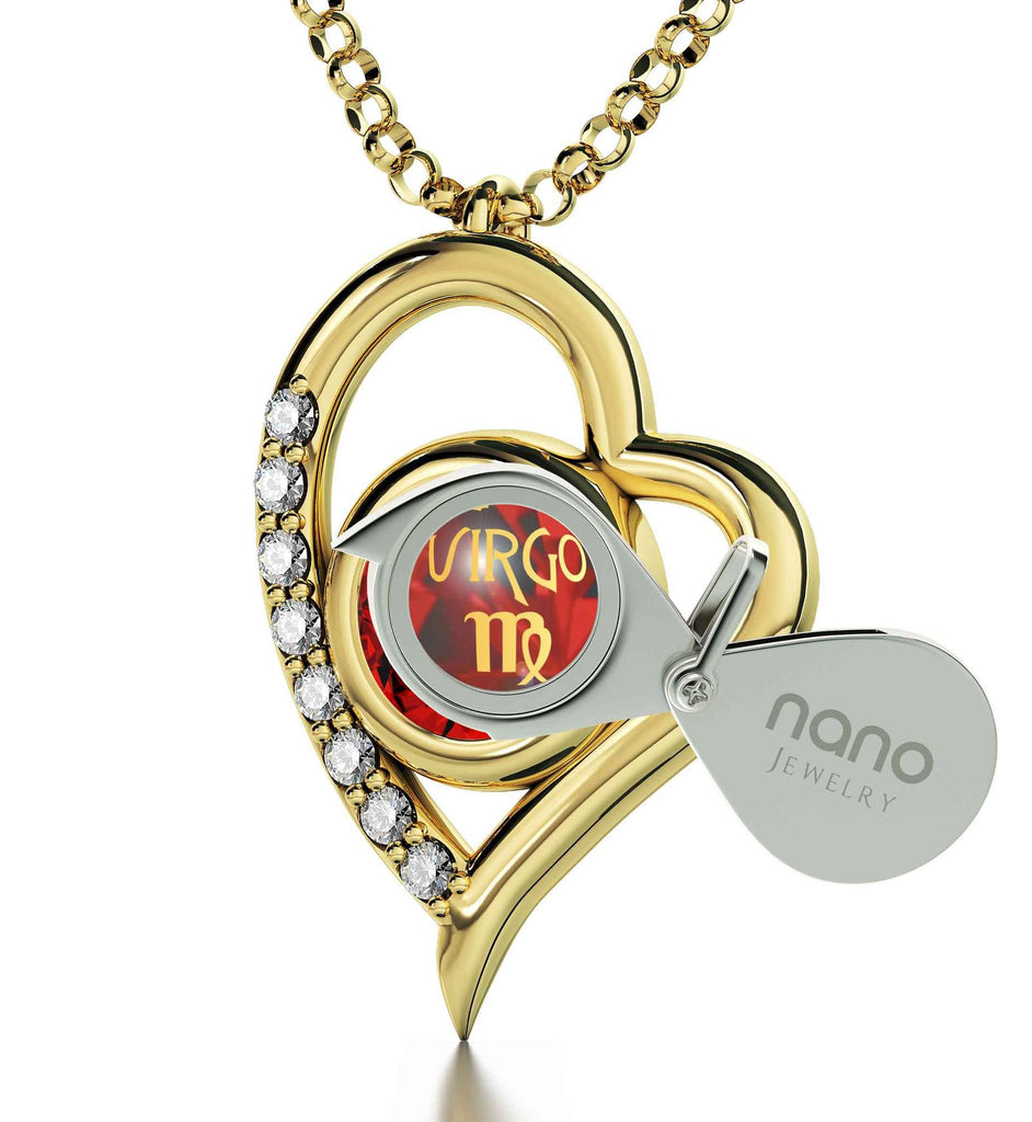 """VirgoEngraved in 24k, HeartNecklace, ChristmasPresentIdeas for Wife, PerfectValentinesGift for Girlfriend, NanoJewelry"""