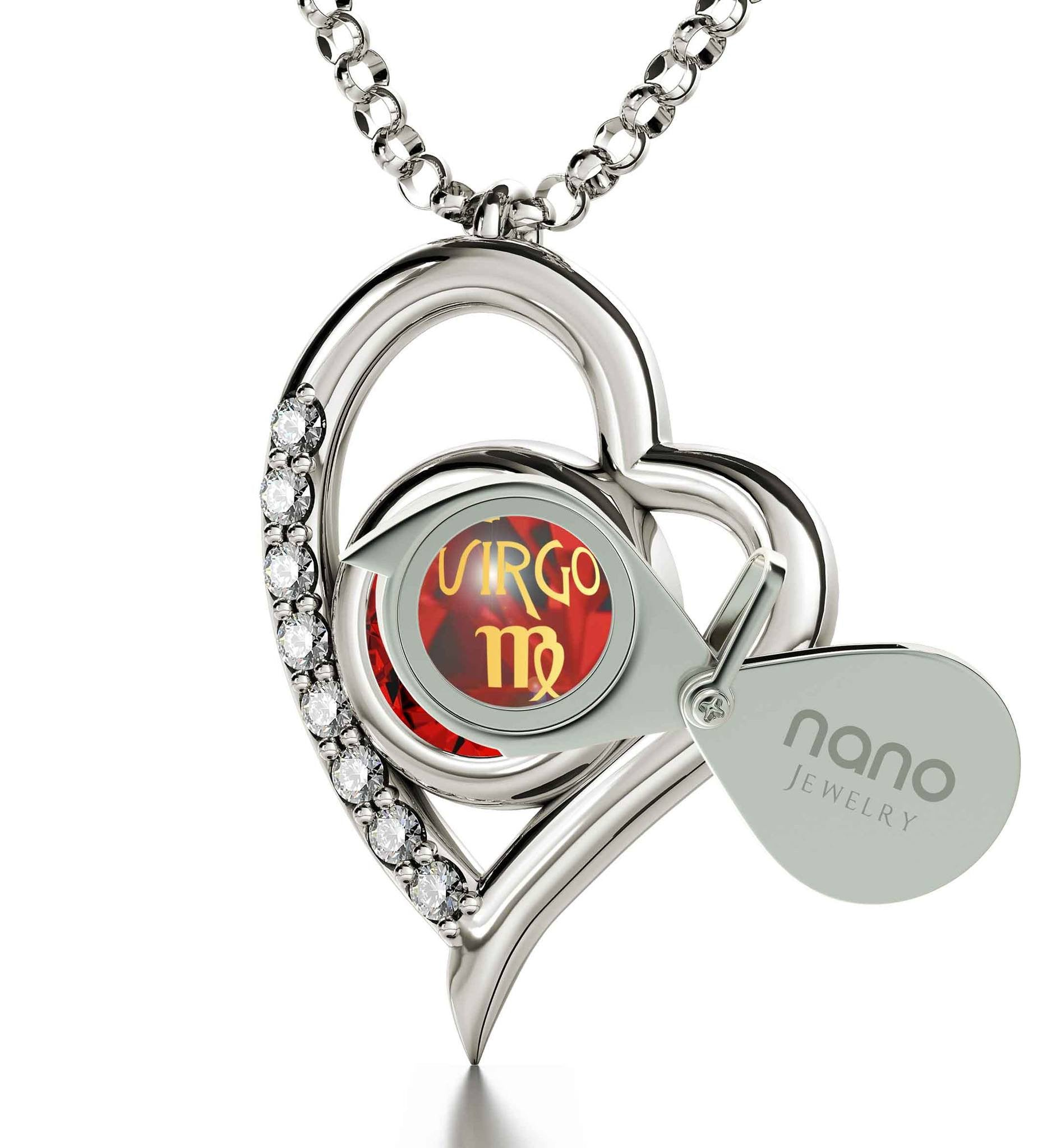 """Virgo Engraved in 24k, Heart Necklace, Perfect Valentines Gift for Girlfriend, Christmas Presents forthe Wife, Nano Jewelry"""