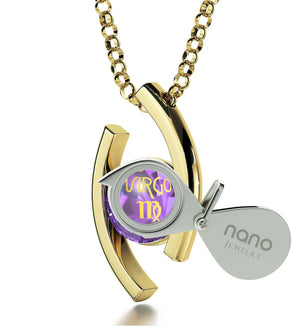 """Virgo Jewelry With Zodiac Imprint, Best Valentine Gift for Wife, Good Presents for Girlfriend, by Nano """