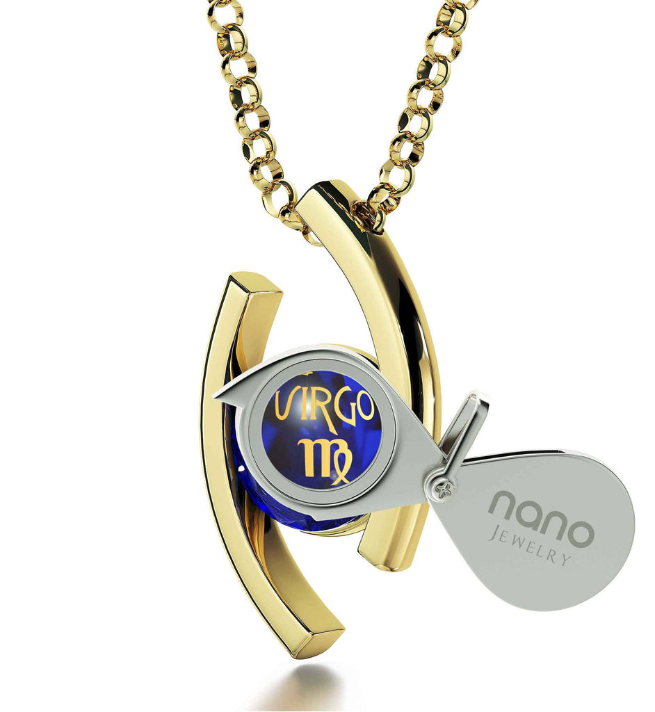 """Virgo Jewelry With 24k Zodiac Imprint, Christmas Presents for Sister, Good Gifts for Mom, Blue Stone Pendant"""