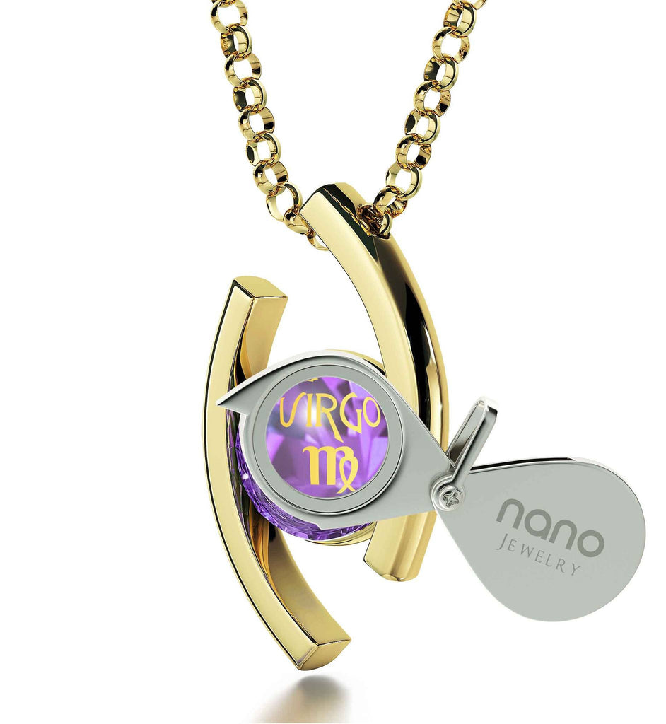 """Virgo Jewelry With 24k Zodiac Imprint, Good Valentine Gifts for Girlfriend, Birthday Presents for Women, Gold Chain With Pendant"""