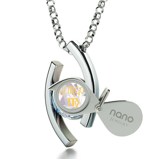 """Virgo Jewelry With 24k Zodiac Imprint, Good Valentine Gifts for Girlfriend, Birthday Presents for Women, Silver Necklace Chain"""