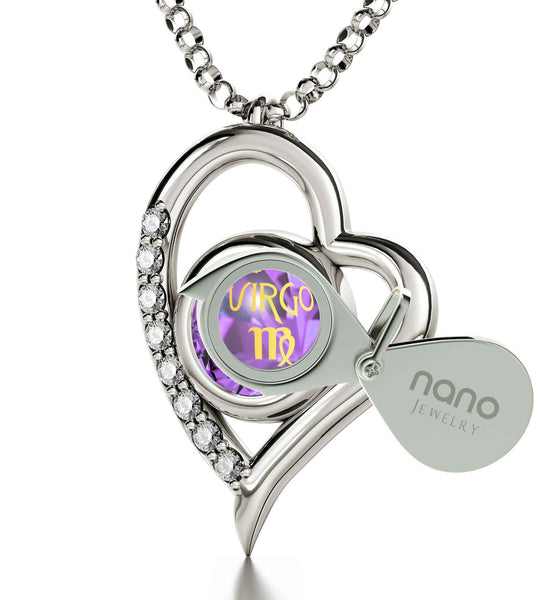 """Virgo Necklace, Purple Stone Pendant, Great Valentines Gifts for Her, Christmas Ideas for Girlfriend, Nano Jewelry"""