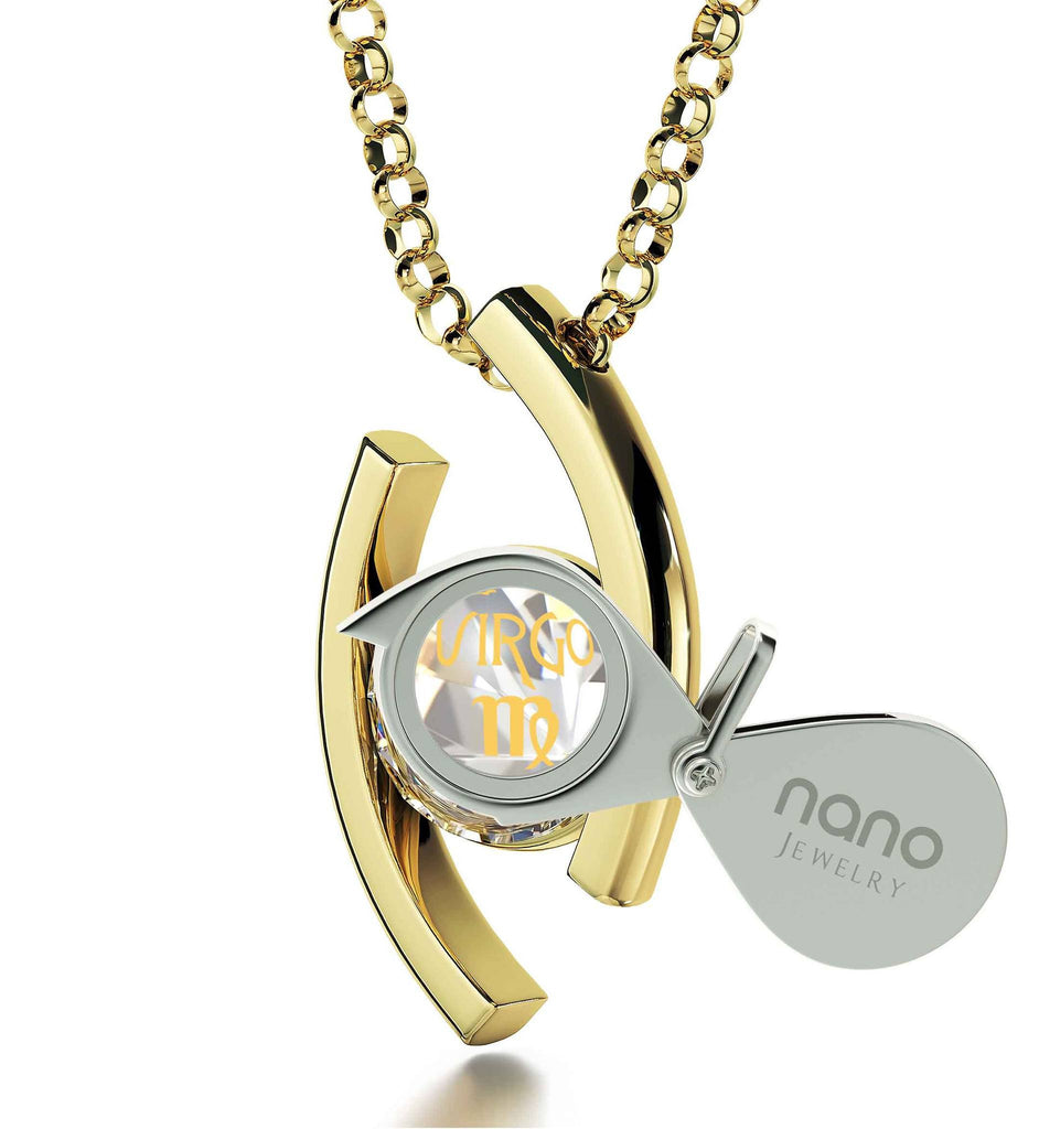 """Necklace With Virgo Zodiac Imprint, Women's Gold Jewelry, Gift for Wife Anniversary, by Nano """