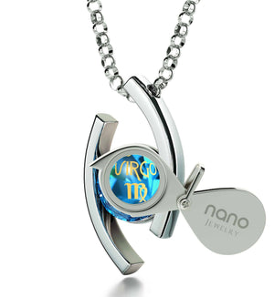 """Jewelry With Virgo Zodiac Imprint, Best Valentine's Day Gifts for Her, Birthday Present for Wife, September Birthstone Necklace """