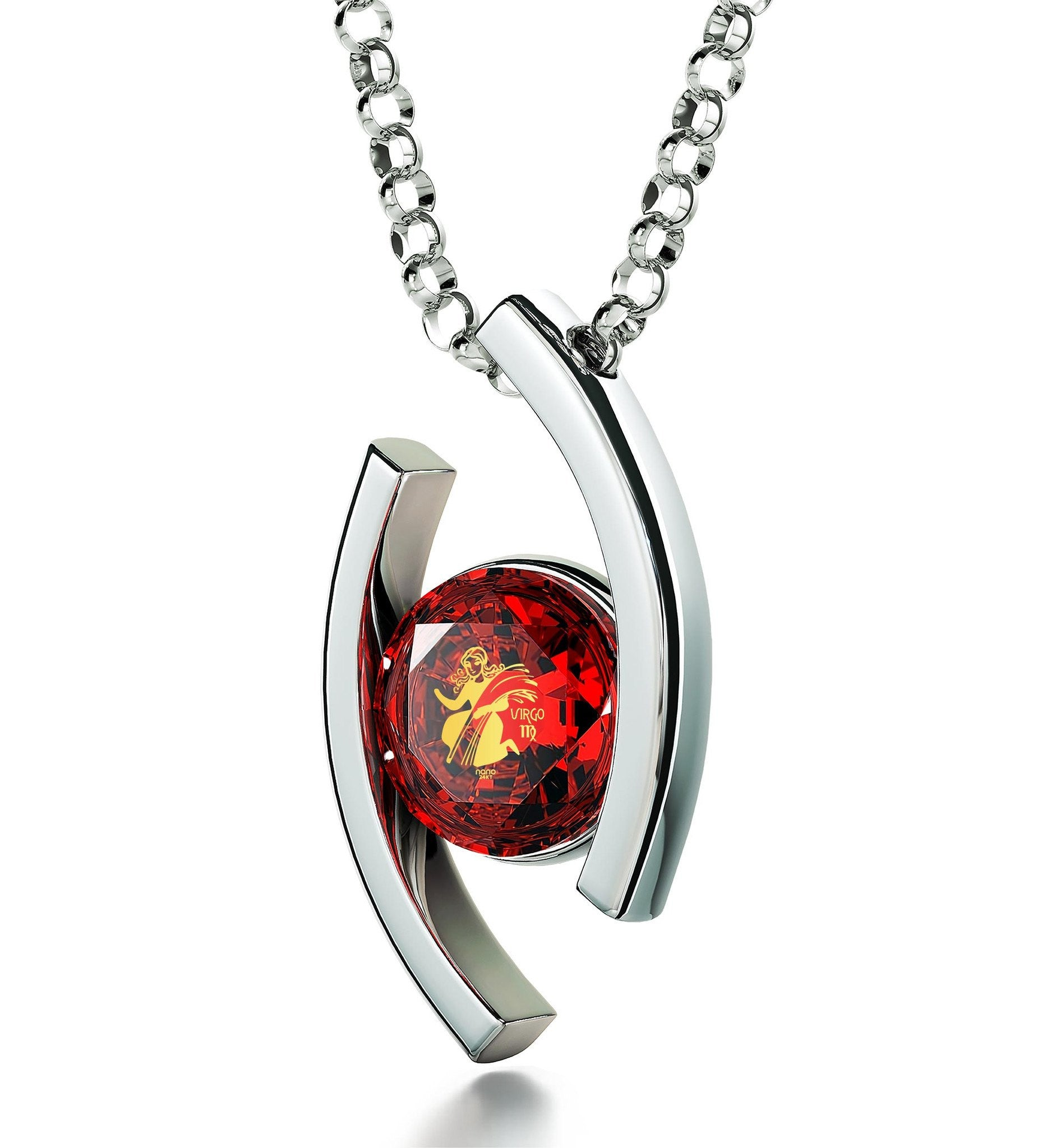 """Virgo Jewelry With 24k Zodiac Imprint, Perfect Valentines Gift for Her, Birthday Present for Wife, Red Pendant Necklace"""