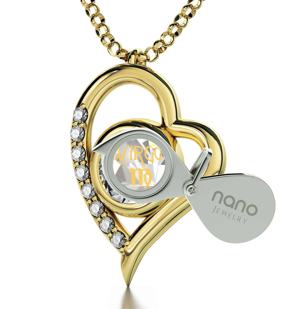 """VirgoNecklace, ZodiacPendant, GoodChristmasGifts for Wife, ValentinesPresents for Girlfriend, NanoJewelry"""