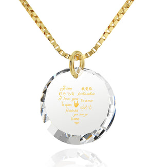 Good Valentine's Day Gifts for Girlfriend,Love in Other Languages, CZ White Round Stone, What to Get Wife for Christmas