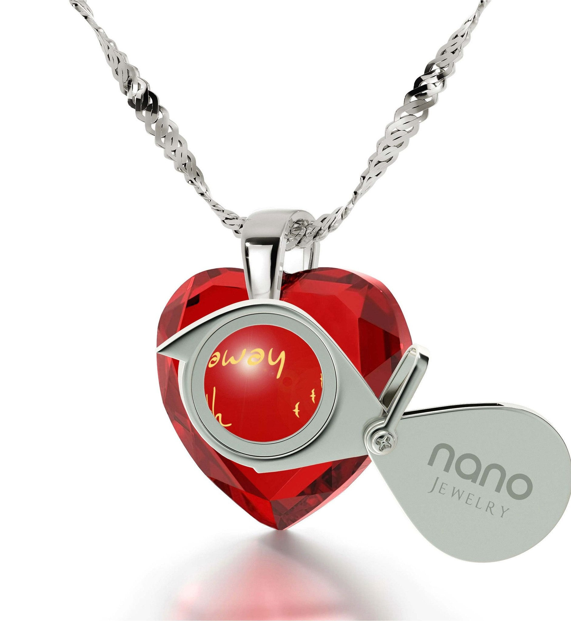 """Best Valentine Gift for Wife, Red Heart Stone Engraved Necklace, Creative Birthday Ideas for Girlfriend"""