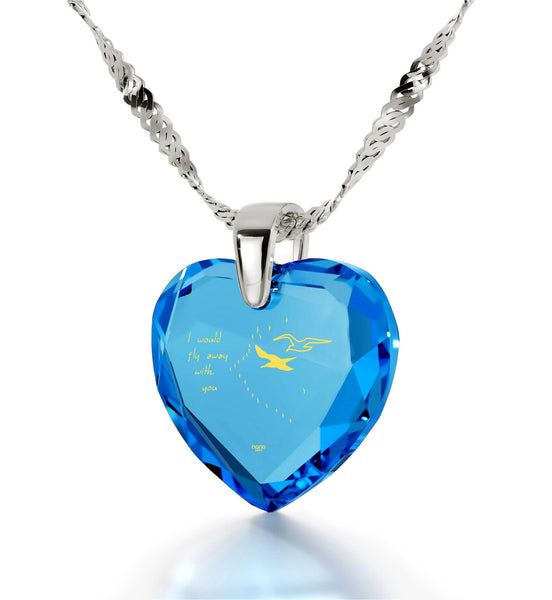 """Women's Gifts for Christmas, Fine Silver Jewelry with Blue Heart Stone, Birthday Ideas for Wife, by Nano"""