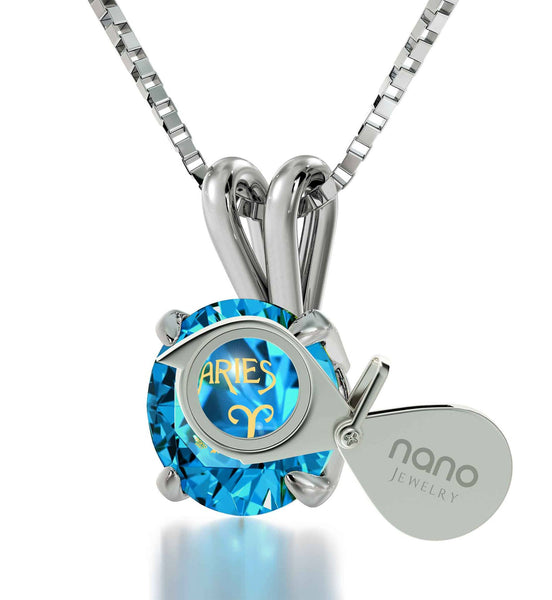 """What to BuyYourGirlfriend for Christmas, AriesPendant, BlueStoneJewelry, ValentineGift for Wife by Nano"""