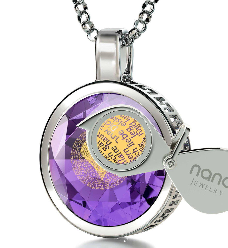 What to Buy Your Girlfriend for Christmas, Heart Necklaces for Women, CZ Purple Stone, Gift for Wife Birthday