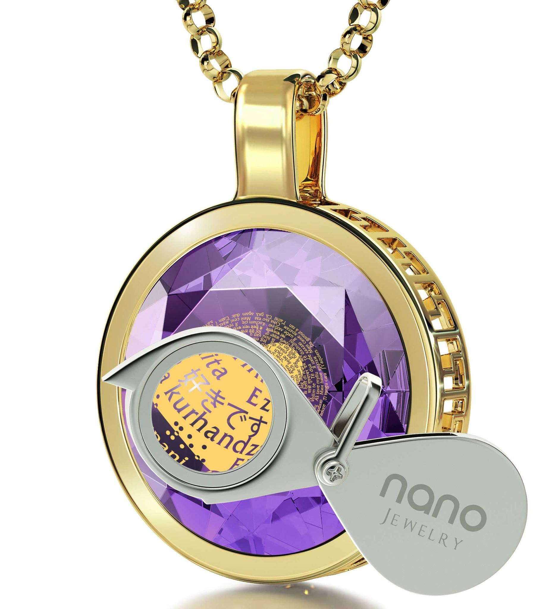 """I Love You"" in 120 Languages, 3 Microns Gold Plated Necklace, Zirconia"