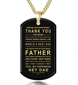 What to Get for Father's Day, Gold Jewelry with Engraved Pendant, Gifts for Dad from Daughter, by Nano