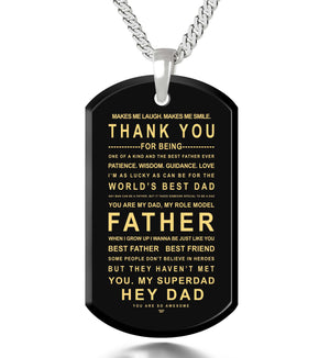 What to Get for Father's Day, Silver Jewelry with Engraved Pendant, Gifts for Dad from Daughter, by Nano