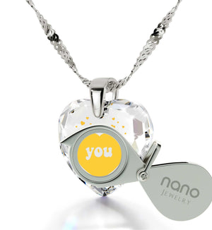"""I Love You"", 925 Sterling Silver Necklace, Cubic Zirconia"