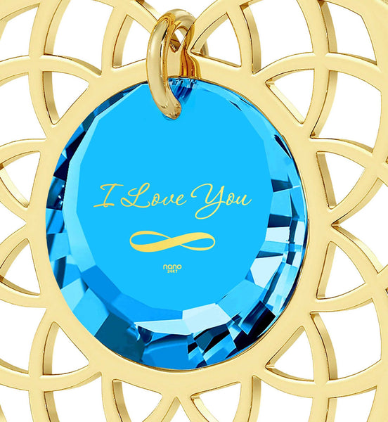 Good Christmas Presents for Girlfriend, Blue Topaz, Gold Filled Necklace, Best Xmas Gift for Wife, Nano Jewelry