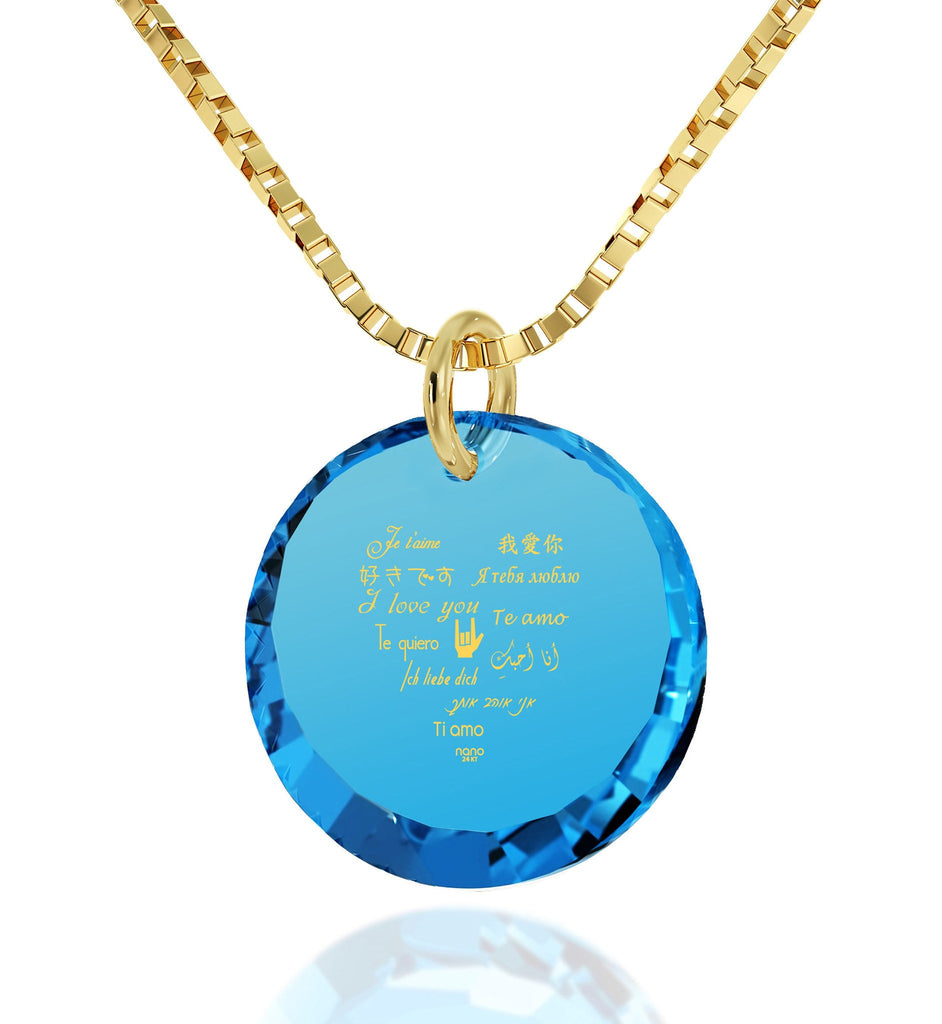 Valentine's Day Gift Ideas for Girlfriend, What Is My Love Language, CZ Blue Round Stone, Top 10 Christmas Gifts for Wife