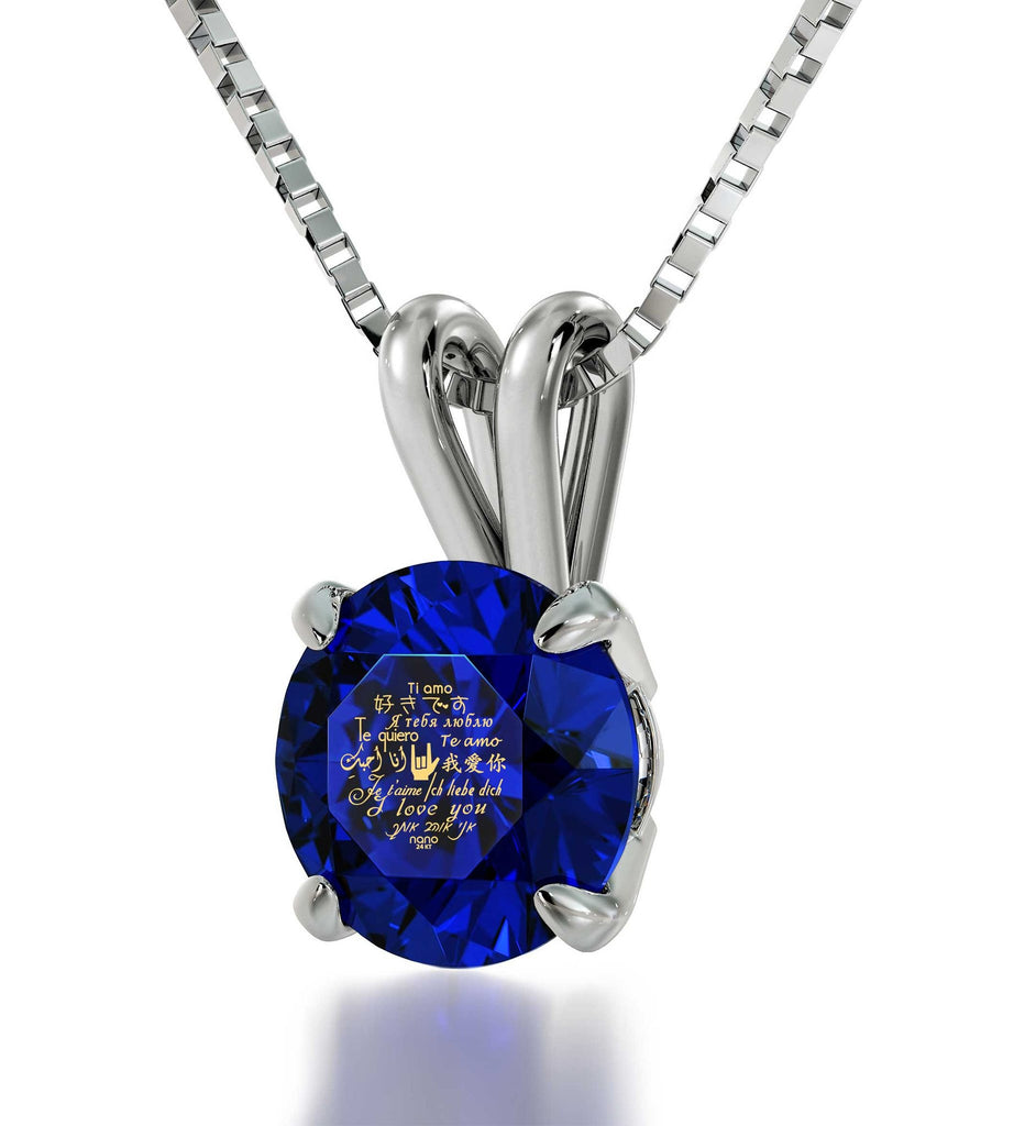 "What to Get Girlfriend for Birthday, ""I Love You"" Engraved in 24k, CZ Blue Stone, Good Christmas Gifts for Wife"