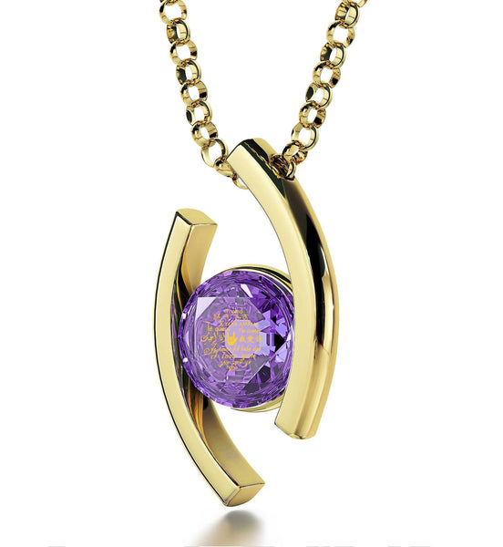 """Girlfriend Birthday Ideas, ""I Love You"" in Chinese, CZ Purple Stone, Top Gifts for Wife by Nano Jewelry"""