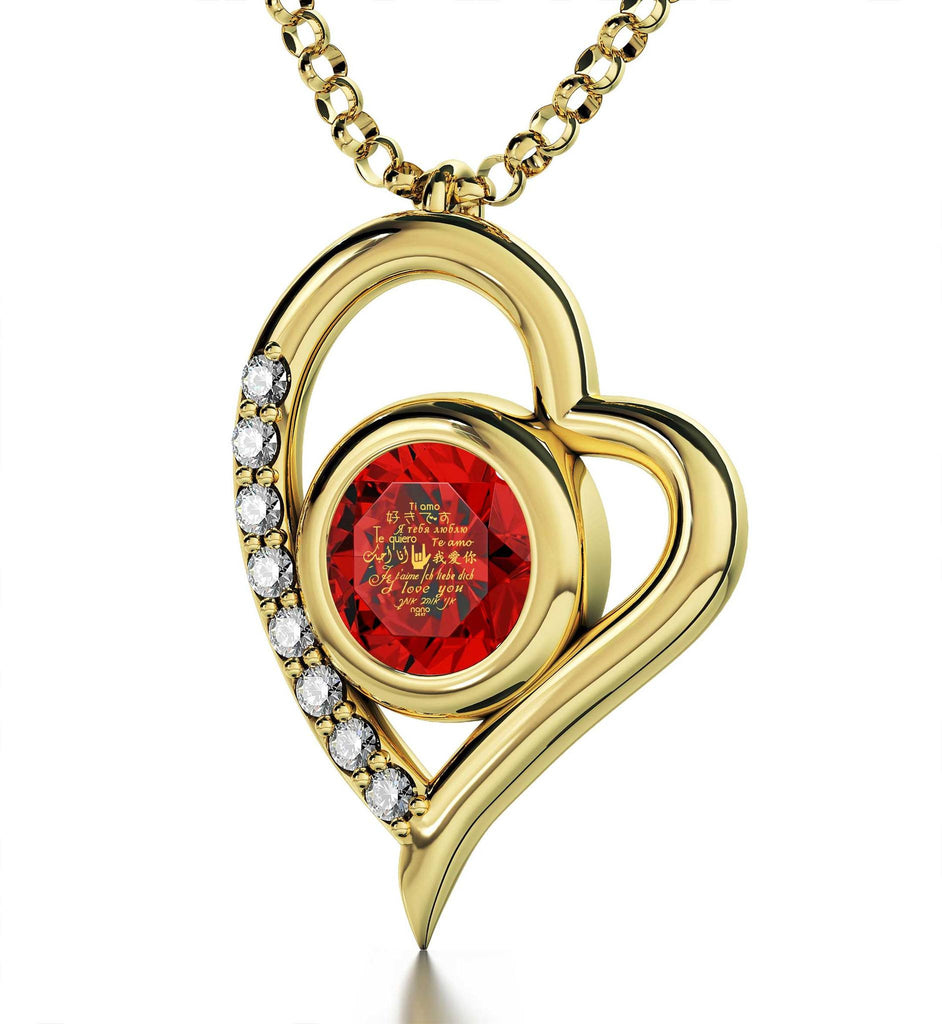 "Good Valentines Day Gifts for Girlfriend,""Je T'aime"",CZ Red Stone, Xmas Presents for Women by Nano Jewelry"