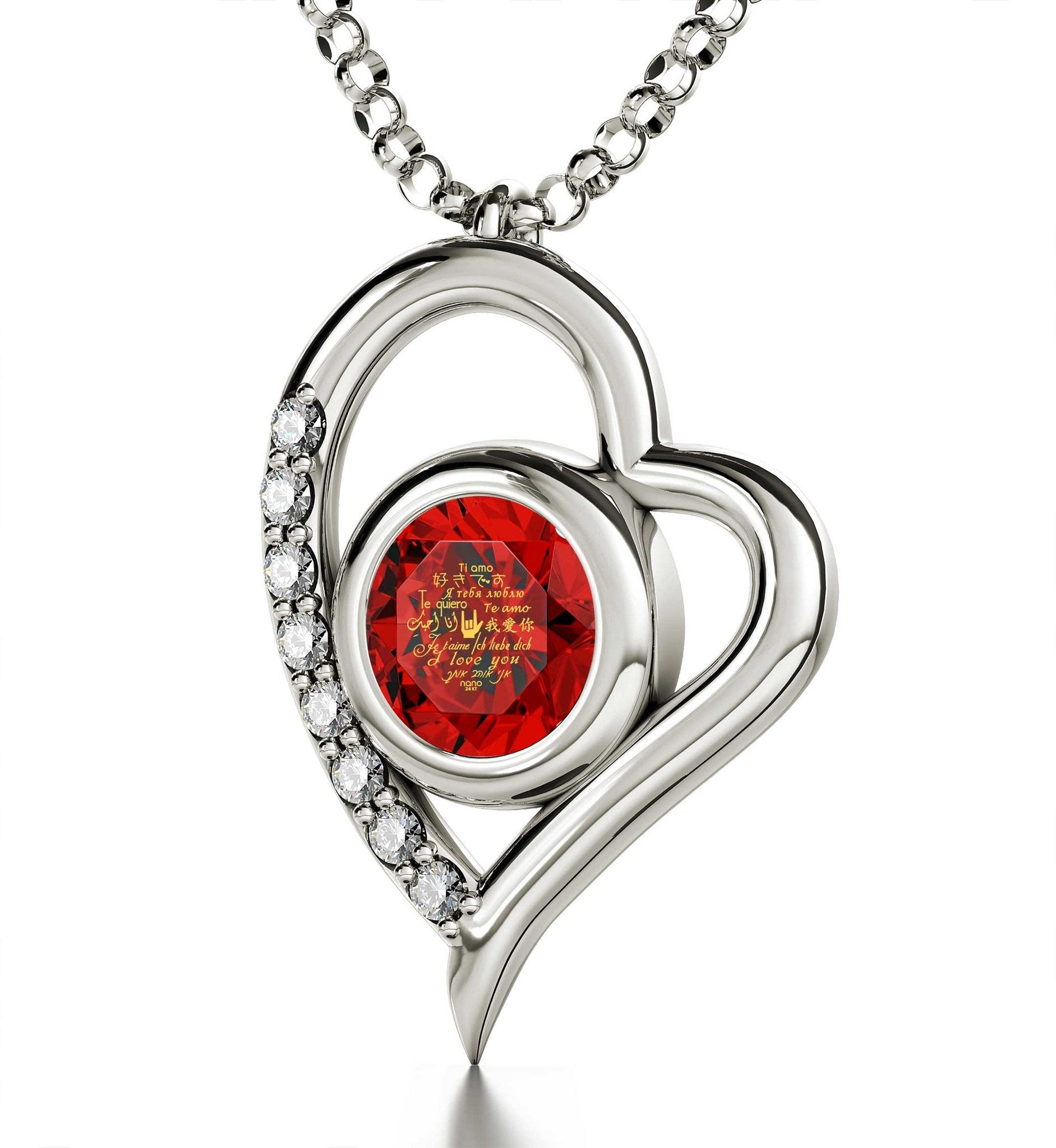 "Good Valentines Day Gifts for Girlfriend, ""Je T'aime"", CZ Red Stone, Xmas Presents for Women by Nano Jewelry"
