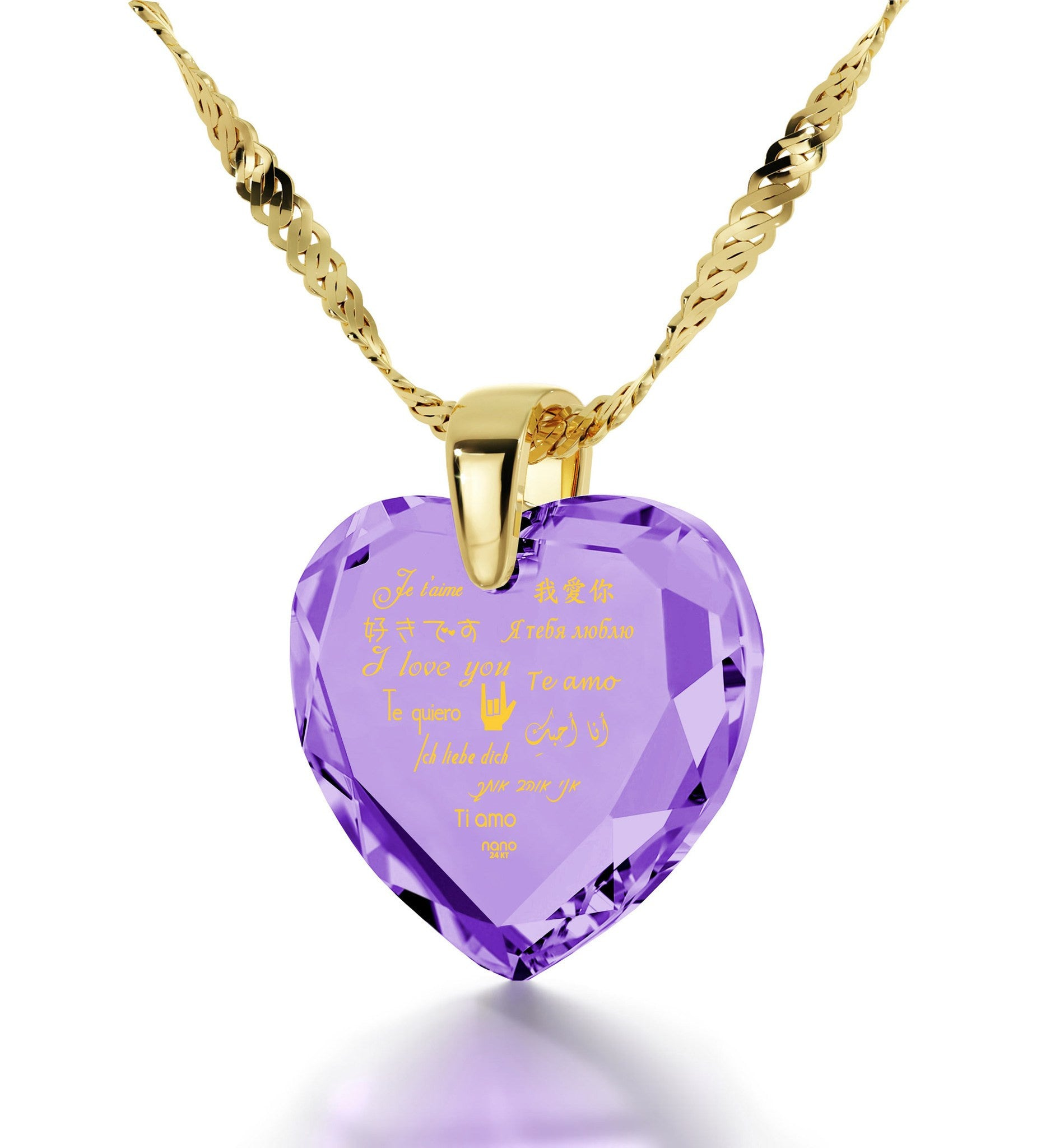 "What to Get Girlfriend for Birthday, ""I Love You"" in Different Languages, CZ Purple Heart by Nano Jewelry"