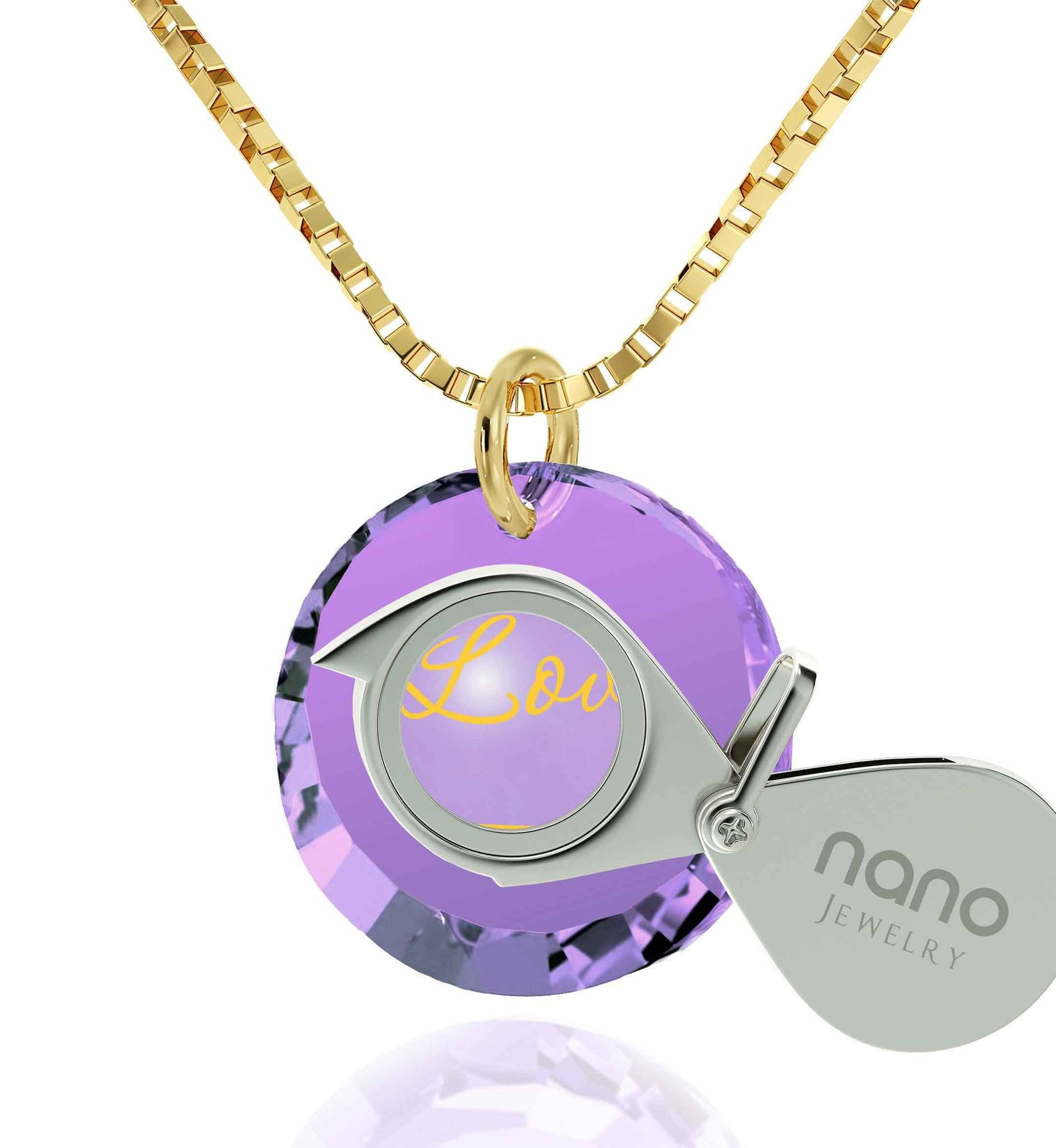 "Top Gifts for Wife, Light Amethyst, 24k Imprint ""I Love You Infinity"", I Love You Necklace for Girlfriend, Nano Jewelry"