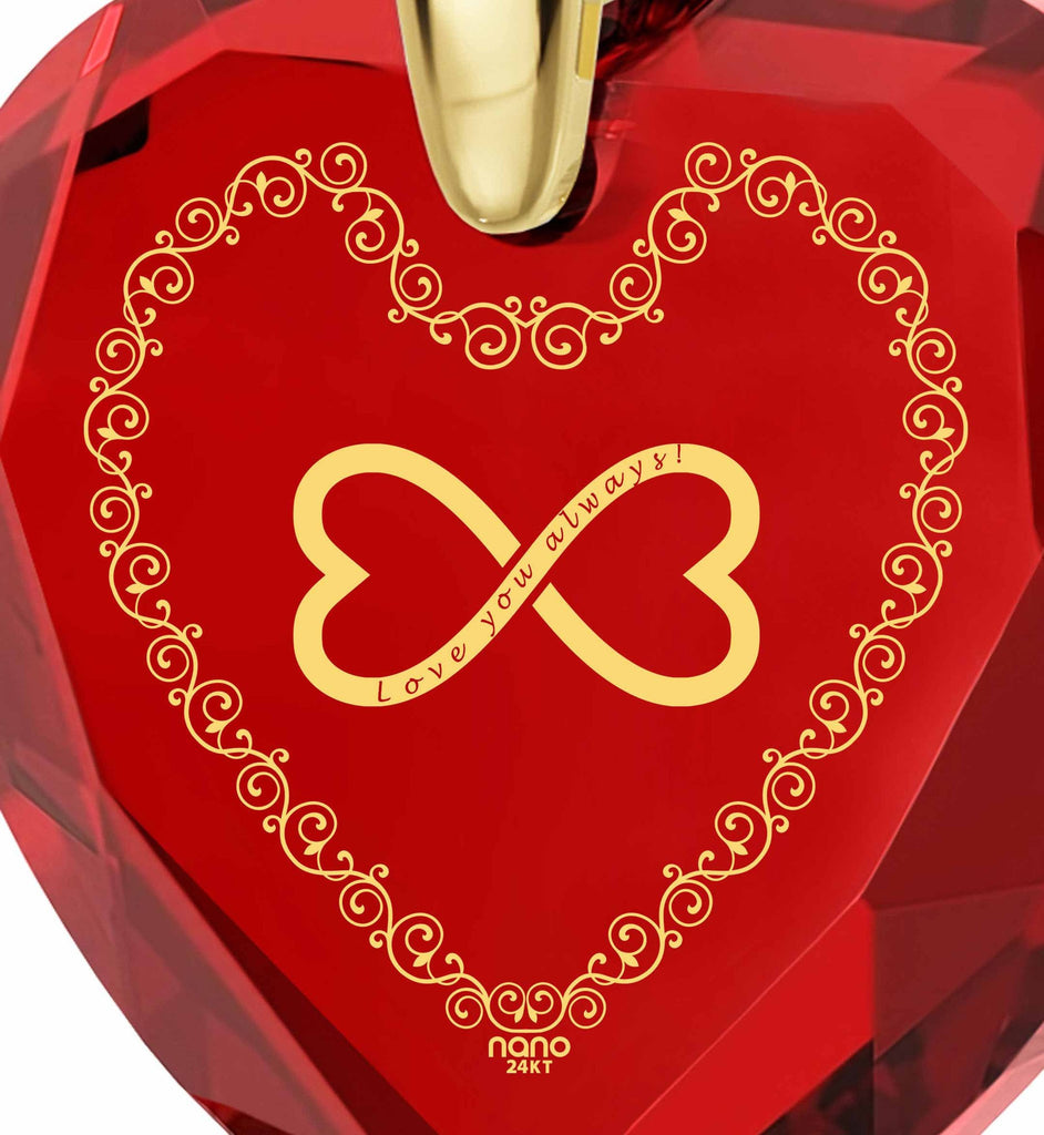 """What to Get Girlfriend for Birthday,""Love You Always"" Red Heart Stone Jewelry, Best Valentine Gift for Wife"""