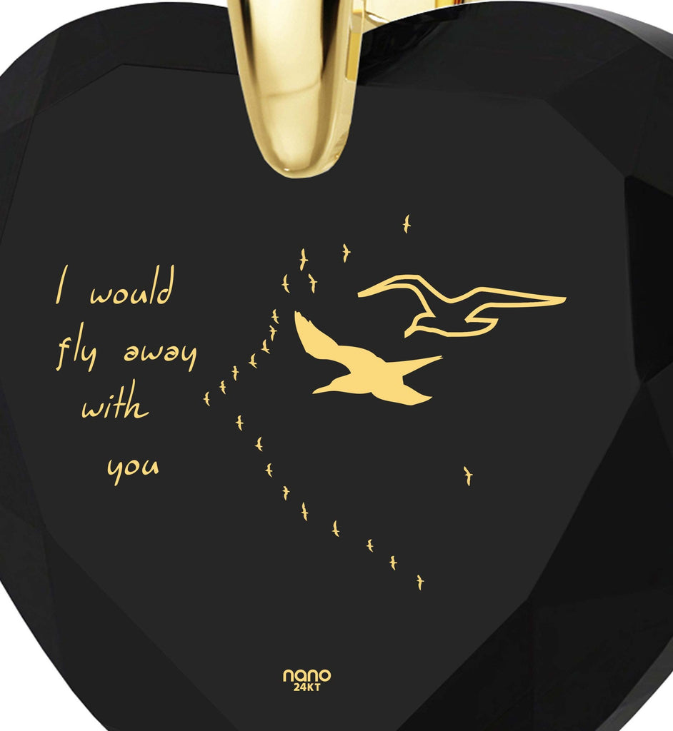 """Top WomensGifts,""I Would Fly Away with You""14k Gold Filled Jewelry, Christmas Presents for Wife"""