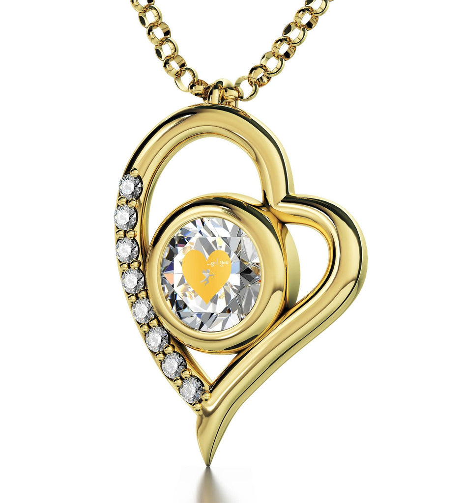 """What to Buy My Girlfriend for Christmas,Heart Frame Gold Filled Engraved Necklace, Romantic Ideas for Valentines Day"""