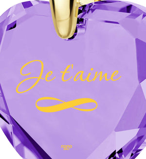 """Valentines Ideas for Her: ""I Love You""in French – ""Je T'aime"", 24k Gold Imprint, by Nano Jewelry"""