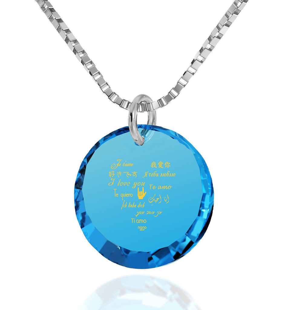 "Perfect Valentines Gift for Girlfriend: ""I Love You"" in 12 Languages - Small Round Facets - Nano Jewelry"