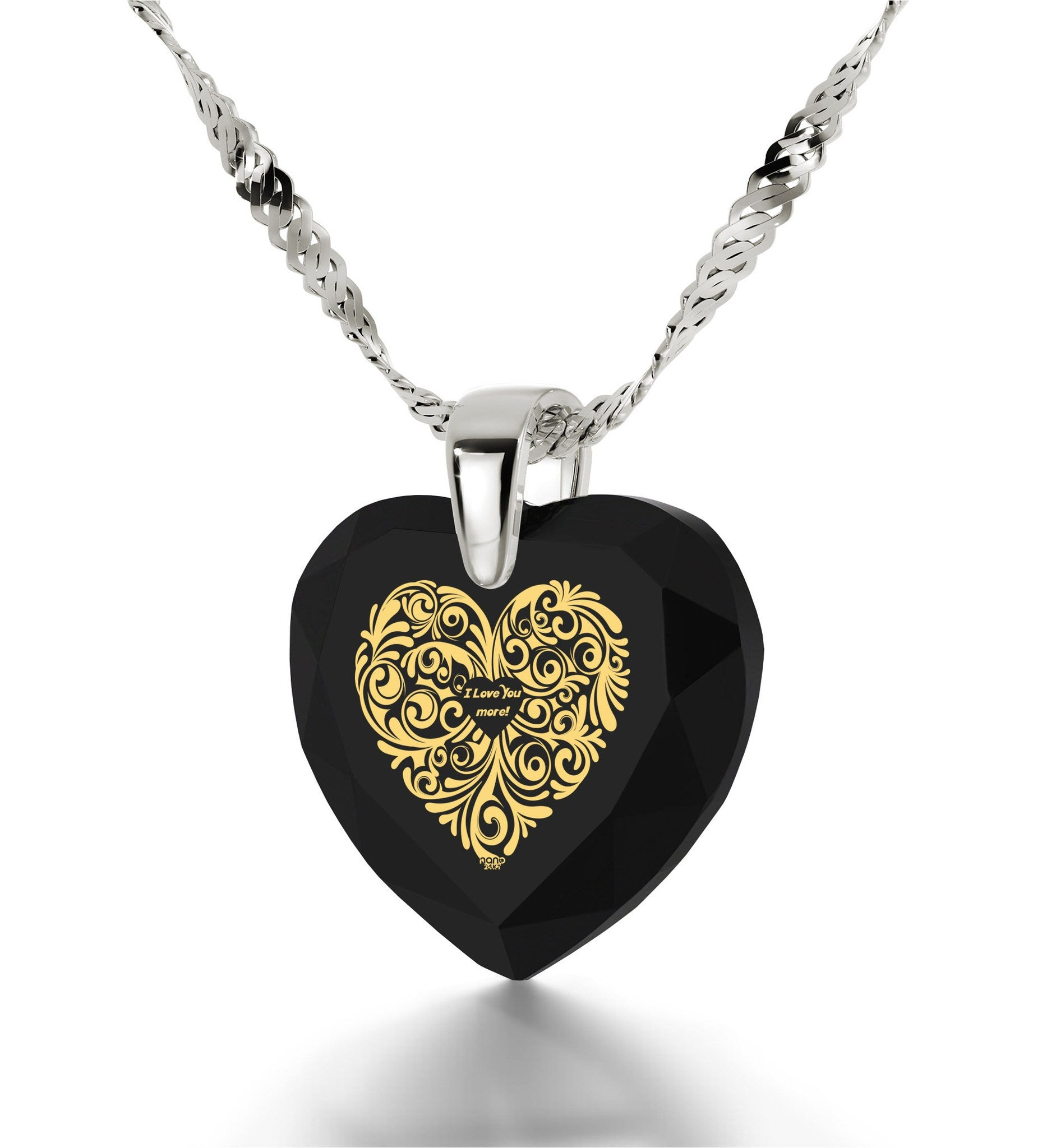 """Good Valentine Gifts for Girlfriend,""I Love You More"" 24k Engraved Jewelry, Christmas Ideas for Women, Nano """