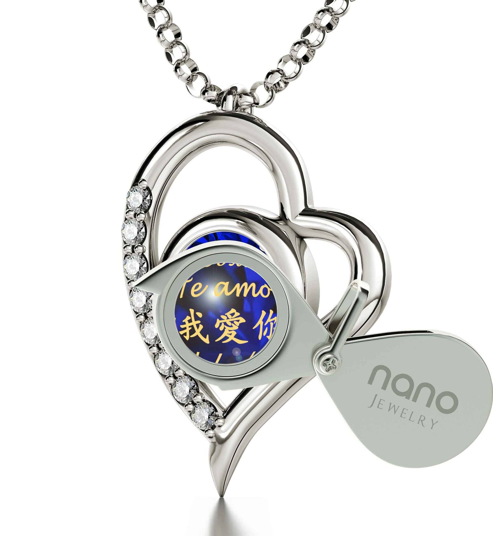 "Good Presents for Girlfriend, ""IchLiebe Dich"", Heart Shaped Necklace, Top Gift Ideas for Women by Nano Jewelry"