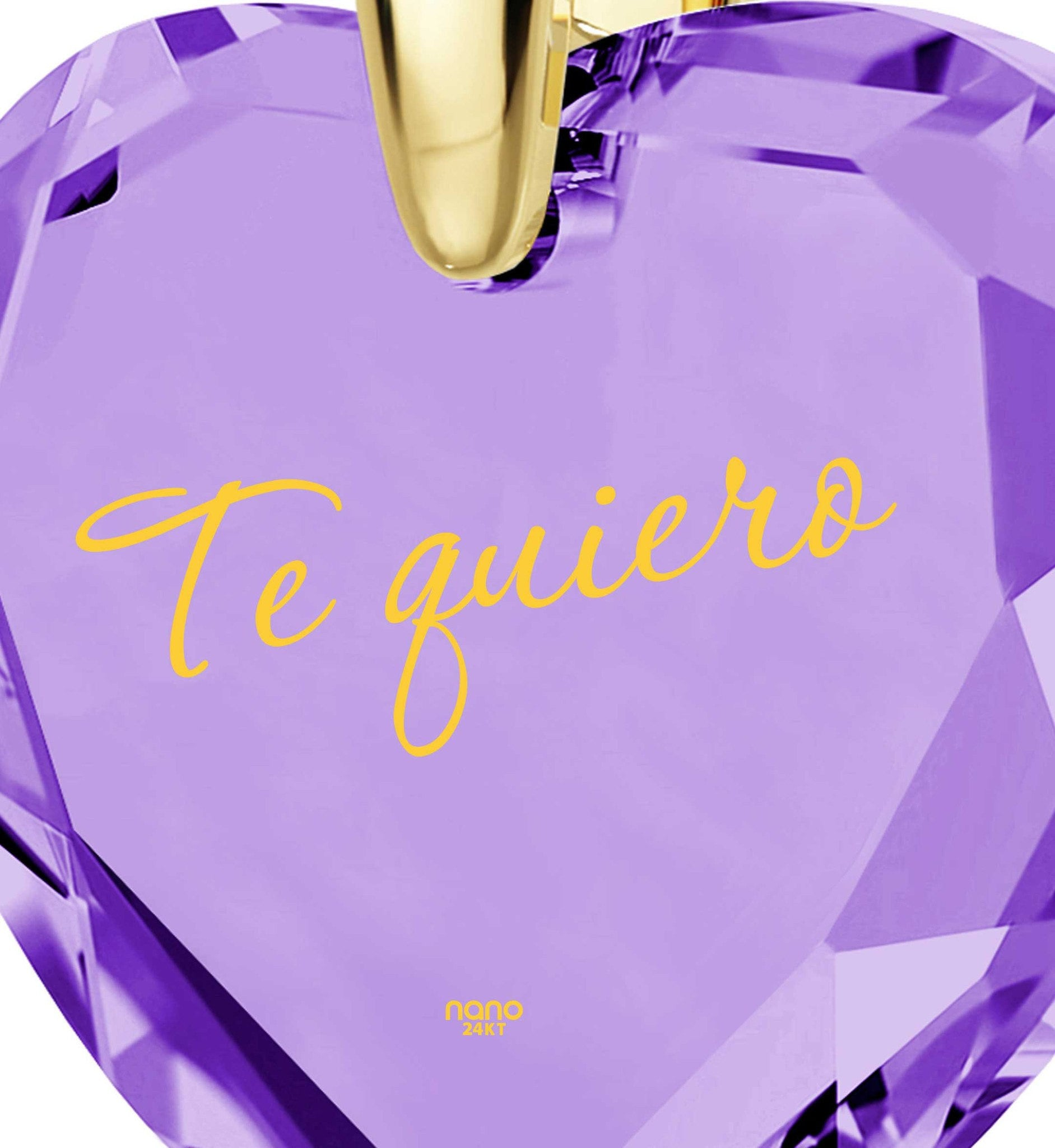 "What to Get Girlfriend for Birthday,""Te Quiero"", 24k Engraved Jewelry, Cool Xmas Presents, Nano"