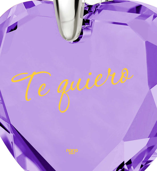 "What to Get Girlfriend for Birthday,""TeQuiero"", 24k Engraved Jewelry, Cool Xmas Presents, Nano"