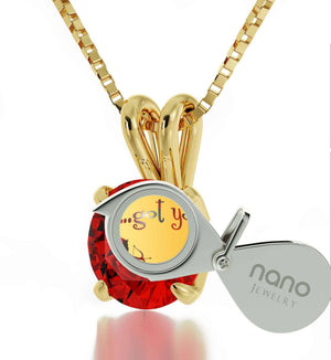 """What to Get Your Girlfriend for Valentines Day, Gold Chain with Red Pendant, Gift for Wife Birthday, by Nano jewelry"""