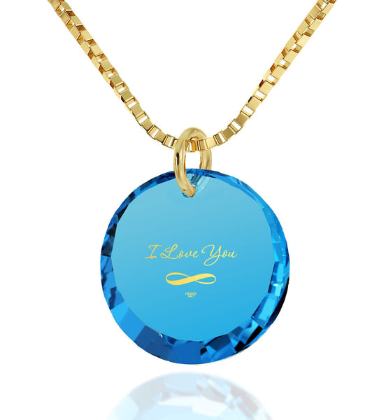 "Necklaces for Your Girlfriend, Blue Topaz,""I Love You Infinity"" 24k Imprint, Valentine Gift for Wife, Nano Jewelry"
