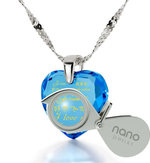 What to Get Girlfriend for Christmas, Meaningful Necklaces, CZ Blue Stone, Top Gifts for Wife