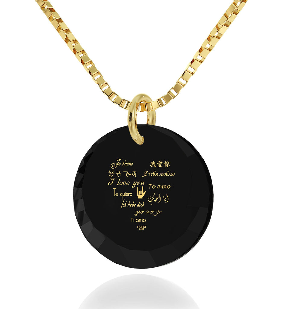 What to Get Girlfriend for Birthday, Gold Necklace With Pendant, CZ Black Round Stone, What to Buy My Wife for Christmas