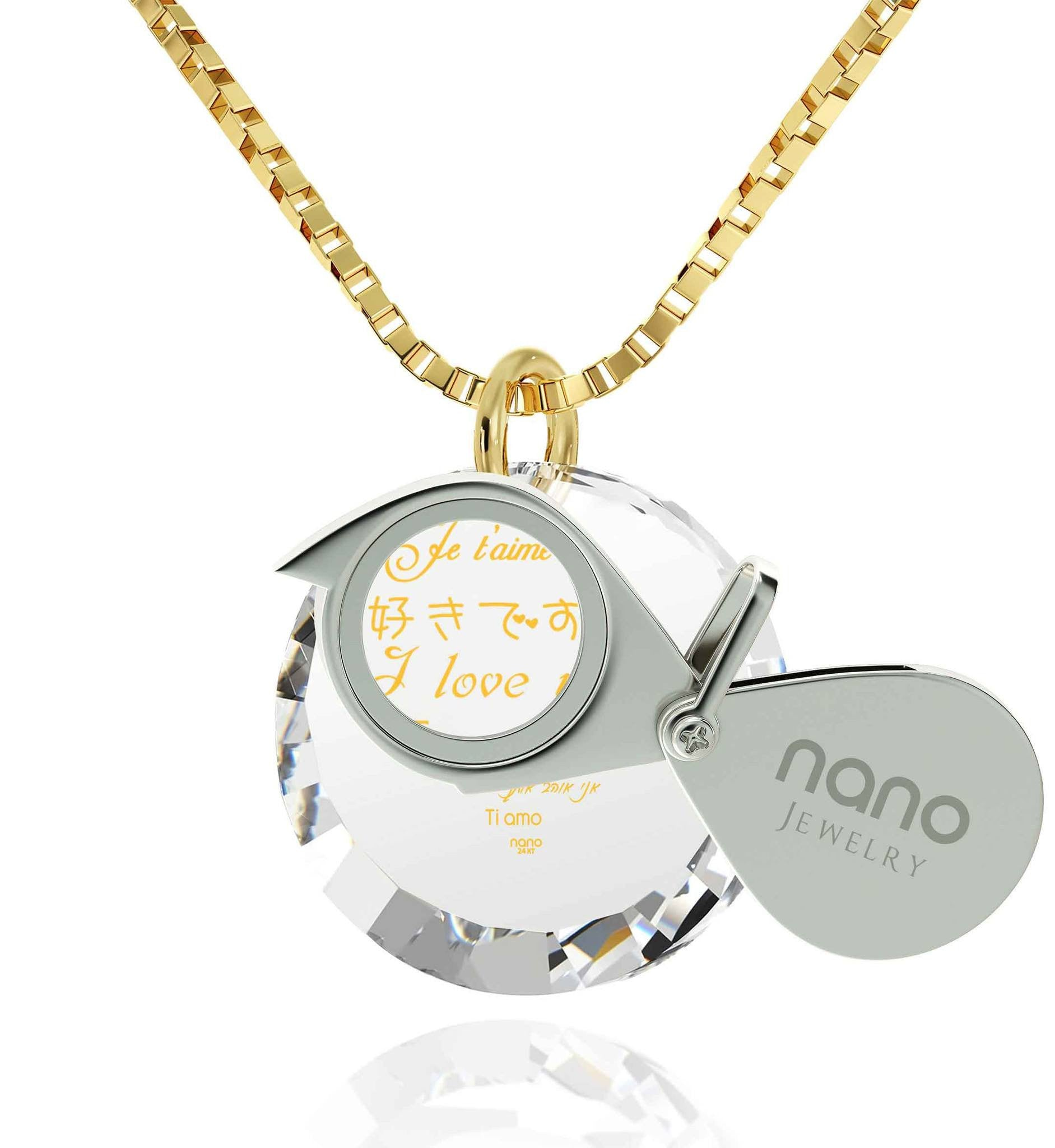 What to Get Girlfriend for Christmas, Real Gold Necklace, CZ White Round Stone, Top Gifts for Wife by Nano Jewelry