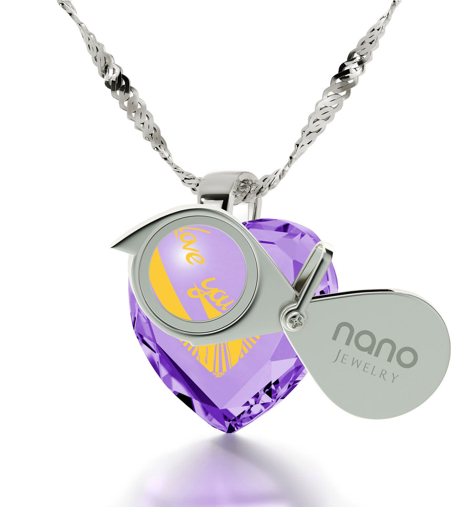 """Christmas Present Ideas,""I Love You to the Moon and Back"", Purple CZ Jewelry, Gift for Girlfriend """