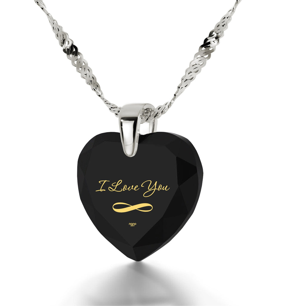 """I Love You Infinity"", 925 Sterling Silver Necklace, Zirconia"
