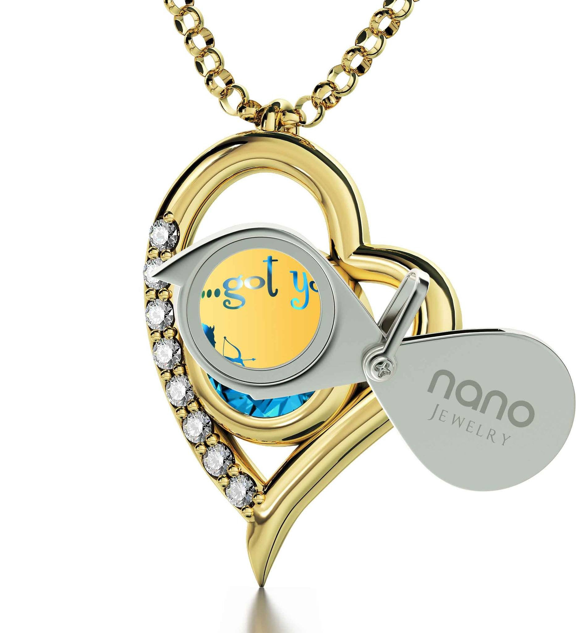 """What to Get Wife for Christmas, 14k Pure Gold Heart Frame Necklace, Girlfriend Birthday Ideas, by Nano Jewelry"""