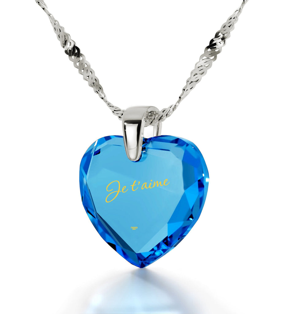 "What to Get Wife for Christmas, Blue Stone Pendant,""Je T'aime"", Heart Necklaces for Women, Nano Jewelry"
