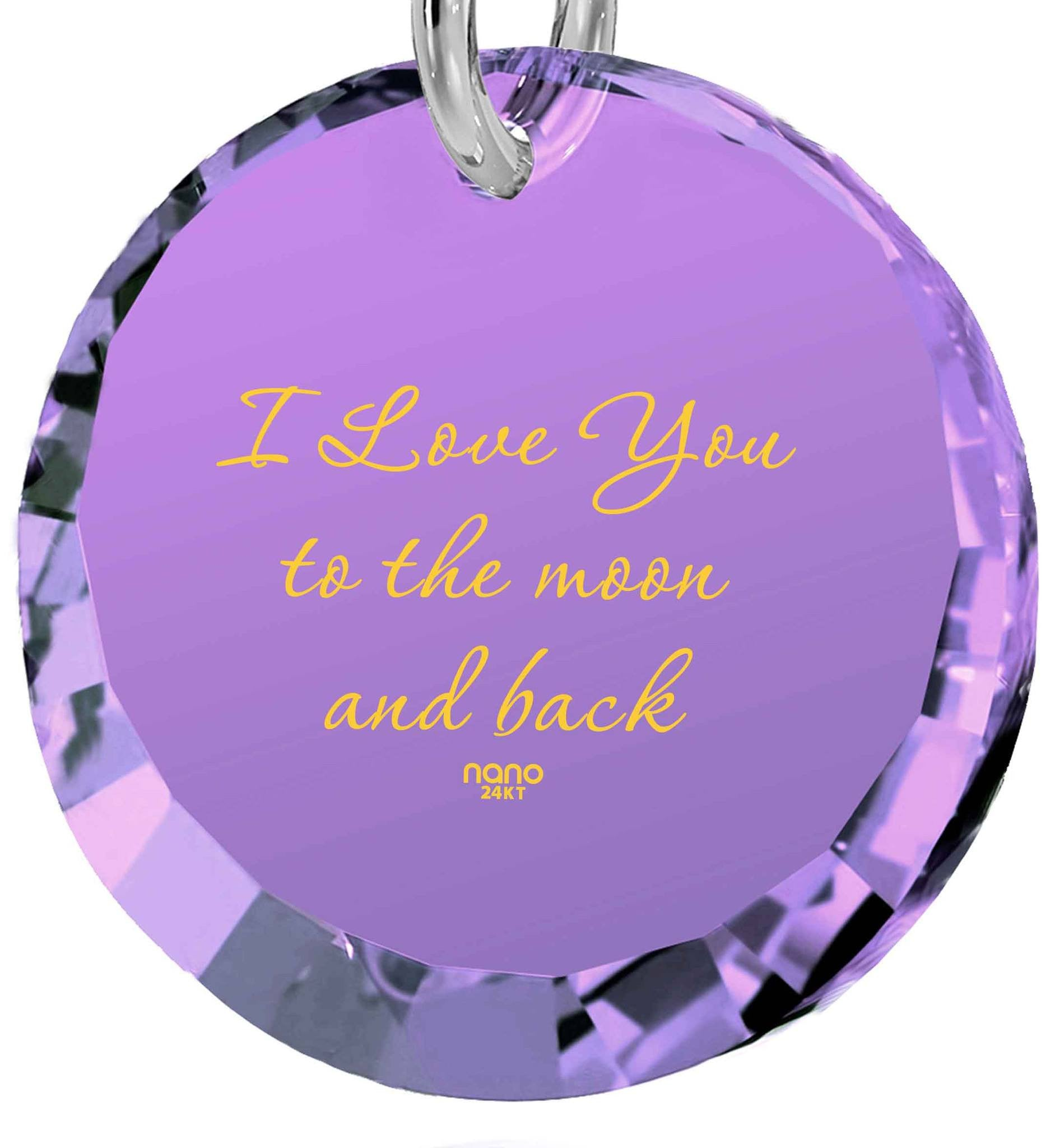 "Gift for Wife Birthday,""I Love You to The Moon and Back"" 24k Imprint, Cute Presents for Girlfriend, Nano Jewelry"