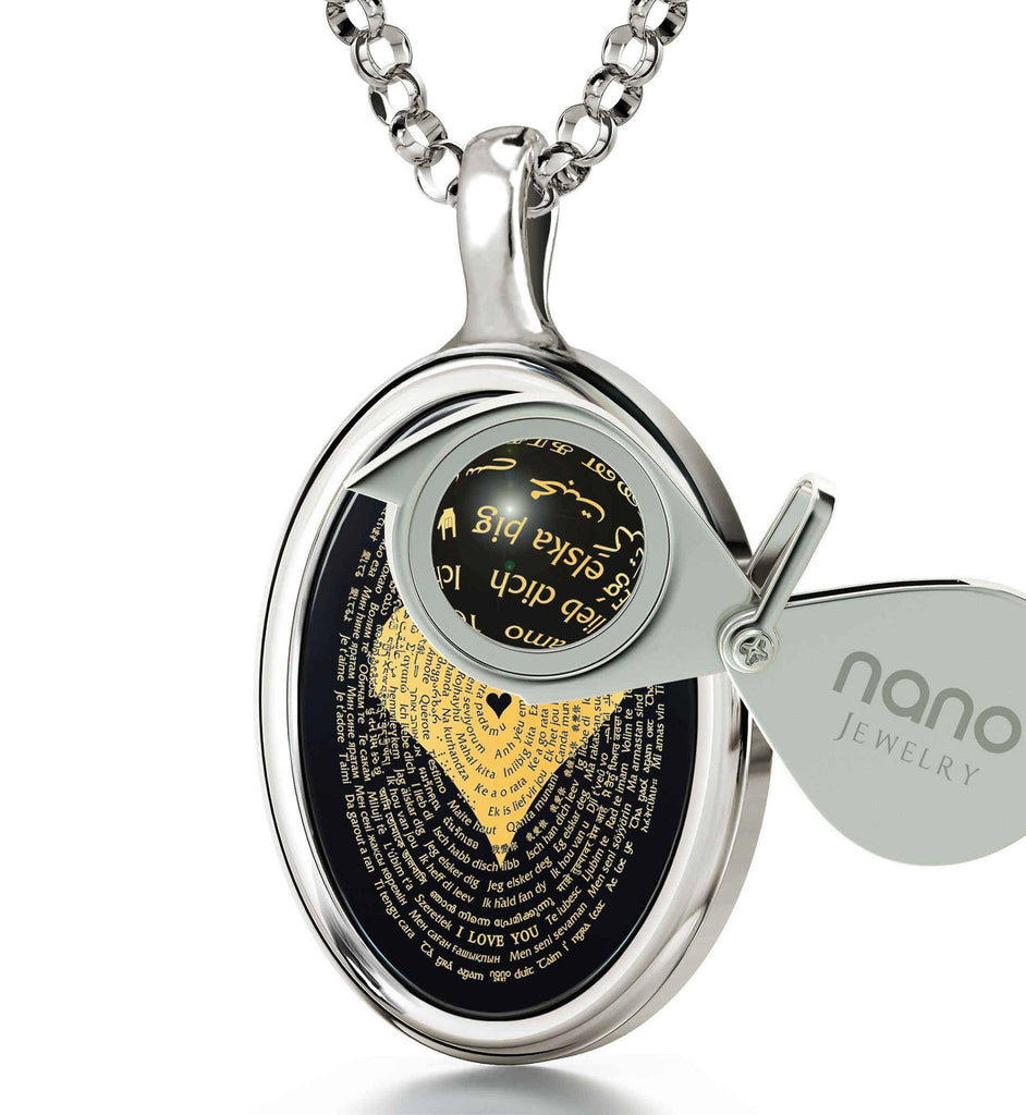 "Love Pendant: ""I Love You"" in All Languages - Oval - Nano Jewelry"